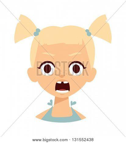 Girl shocked vector illustration.