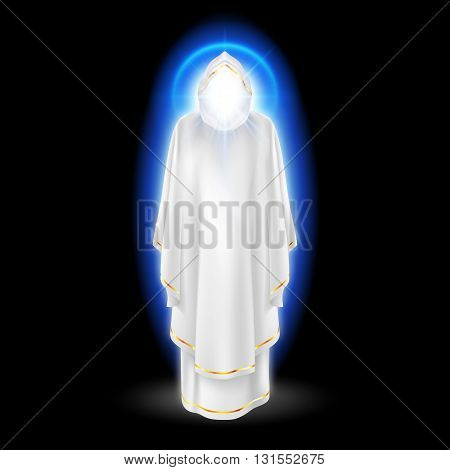 Gods guardian angel in white dress with blue radiance. Religious concept