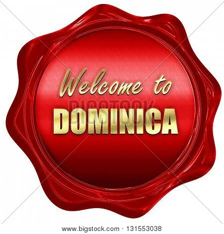 Welcome to dominica, 3D rendering, a red wax seal