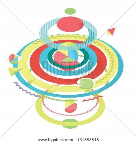 Abstract colored modern geometric background, sphere, segments and sections