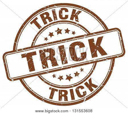 Trick Brown Grunge Round Vintage Rubber Stamp.trick Stamp.trick Round Stamp.trick Grunge Stamp.trick