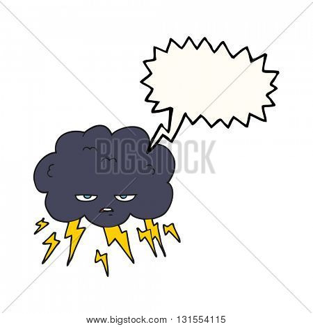 freehand drawn speech bubble cartoon thundercloud