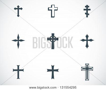 Vector black christia crosses icons set on white background