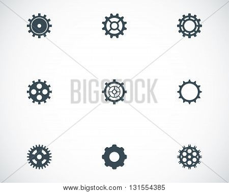 Vector black gear icons set on white background