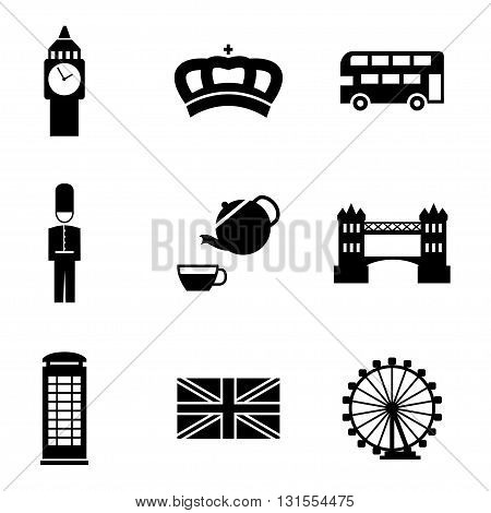 Vector black london icons set on white background