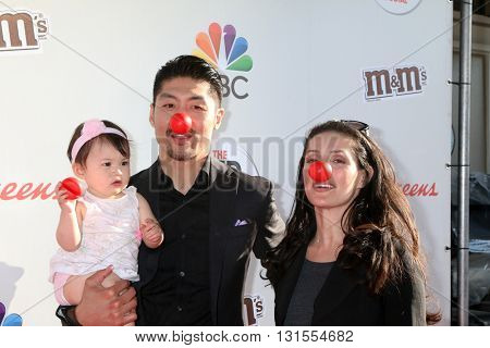 LOS ANGELES - MAY 26:  Madelyn Skyler Tee, Brian Tee, Mirelly Taylor at the Red Nose Day 2016 Special at Universal Studios on May 26, 2016 in Los Angeles, CA