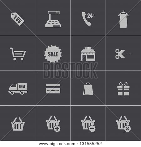 Vector black shopping icons set on grey background