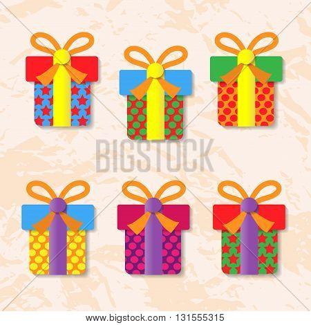 Set of icons of gift boxes on background