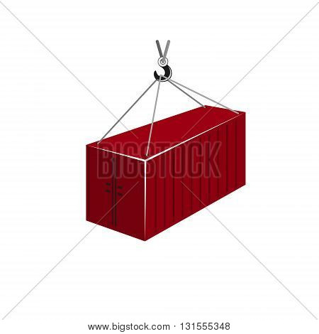 Red Container with Crane Isolated on White, Container Hanging on Crane Hook, Vector Illustration