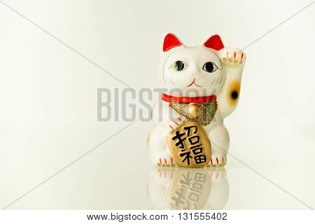 Japanese beckoning cat (Maneki Neko) also means bring wealth to you while a right paw raised currency sign for you to replace.