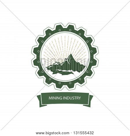 Mining Industry Emblem, Sunburst and the Mountains in Gear, Design Element, Vector Illustration