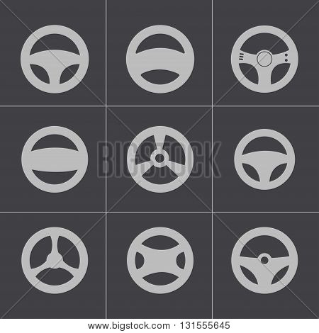 Vector black Steering wheels icons set on grey background