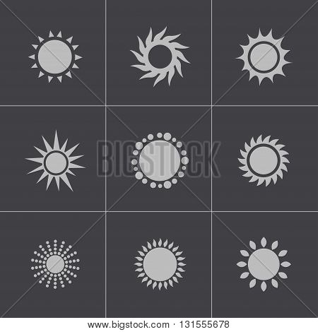 Vector black sun icons set on grey background