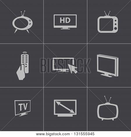 Vector black TV icons set on grey background