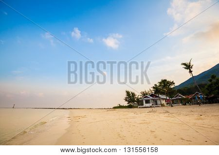 Summer seascape on tropical island Koh Phangan in Thailand. Chalokum beach landscape.