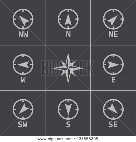 Vector black wind rose icons set on grey background