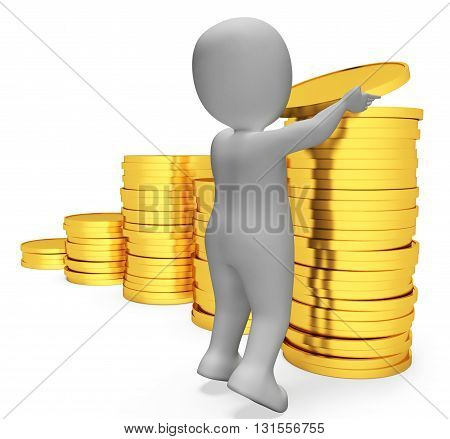Savings Coins Indicates Character Banking And Prosperity 3D Rendering