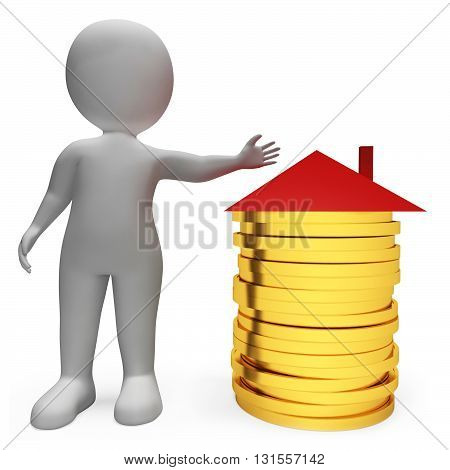 Savings Money Represents Real Estate And Apartment 3D Rendering