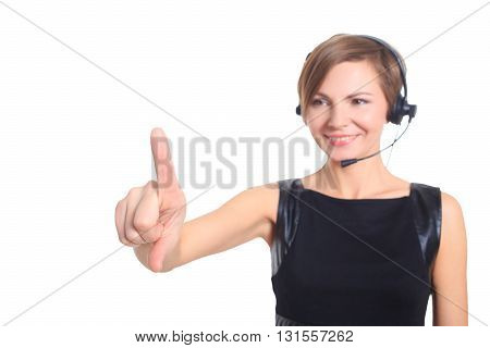 woman pressing high tech type of modern buttons on a virtual background