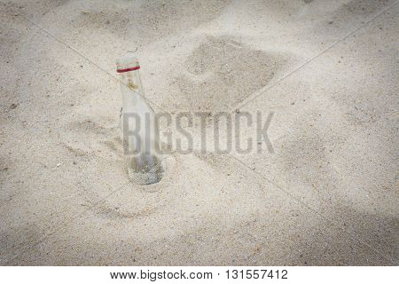 Empty Water Bottle On The Beach Background