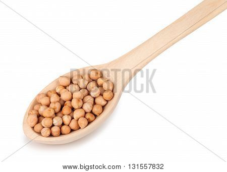 uncooked chickpeas in wooden spoon on white background. Wooden spoon with chickpeas isolated on white background. Wooden spoon with dry chickpeas closeup
