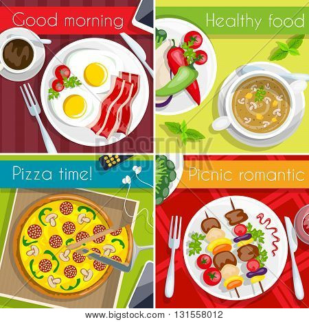 Food icon set four type of meal breakfast healthy pizza time picnic vector illustration