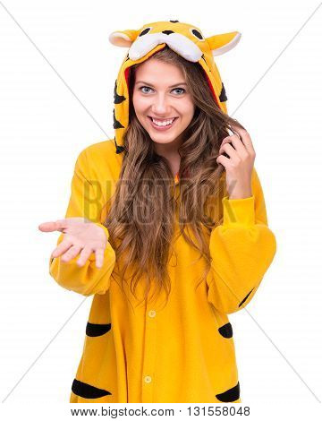 portrait of surprised young woman in the tiger costume isolated on white studio shot