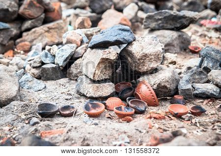 remains of Hindu offerings on the ground