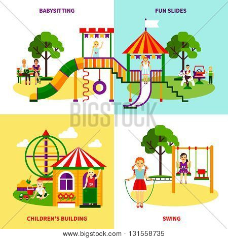 Color flat composition 2x2 design concept of outside playground with swing babysitting childrens bilding fun slides vector illustration