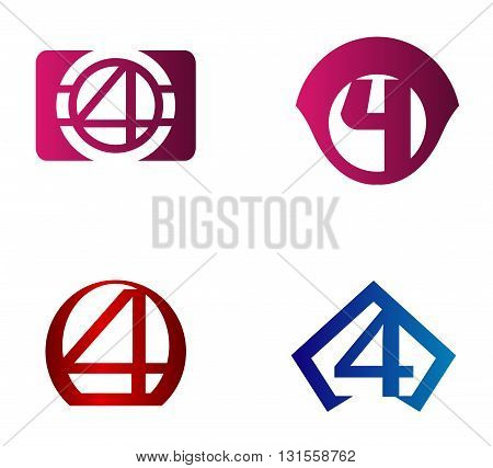 Vector sign number 4. Number 4 logo icon design template elements