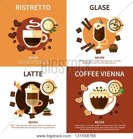 Coffee 2x2 design concept set of different  types of coffee drinks with names ingredients and recipes flat vector illustration