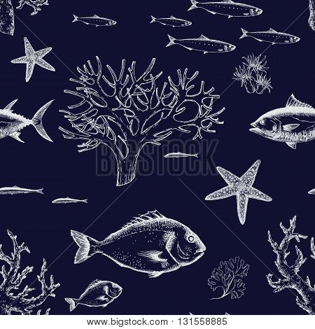 Beautiful pattern with sea life corals and fish