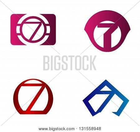 Vector sign number 7. Nuber 7 logo icon design template elements
