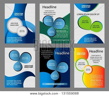 Template flyer background for business design in A4 size, blue turquoise circle curve element with black space,