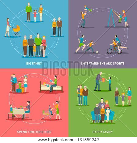 Color flat composition 2x2 depicting activities big happy family at home and during entertainment and sports vector illustration