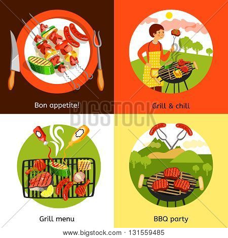 Summer bbq grill outdoor party appetizing menu 4 flat icons square composition banner abstract isolated vector illustration