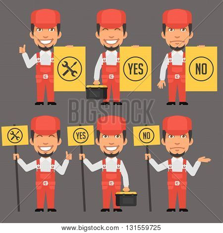 Vector Illustration, Repairman Holds Different Signs, format EPS 8