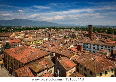 Amazing scenic view of Lucca and Guinigi tower from Torre dell Orologio Lucca Italy