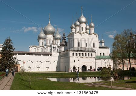ROSTOV RUSSIA MAY 07. 2016: - Rostov the Great in spring view to the kremlin The Church Of the Resurrection and the Cathedral of the Assumption. The Golden Ring of Russia