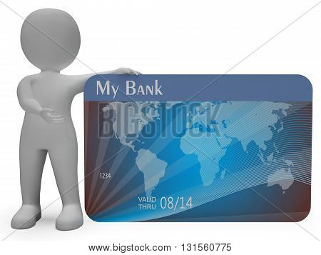 Credit Card Means Commerce Finance And Purchasing 3D Rendering
