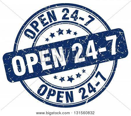 open 24 7 blue grunge round vintage rubber stamp.open 24 7 stamp.open 24 7 round stamp.open 24 7 grunge stamp.open 24 7.open 24 7 vintage stamp.