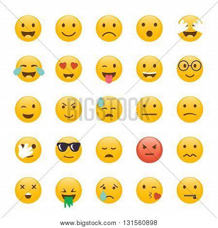 Set of Emoticons. Emoji flat design avatar design. Vector illustration isolated on white background.