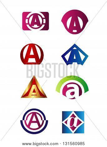Set of letter A logo Branding Identity Corporate vector symbol design template