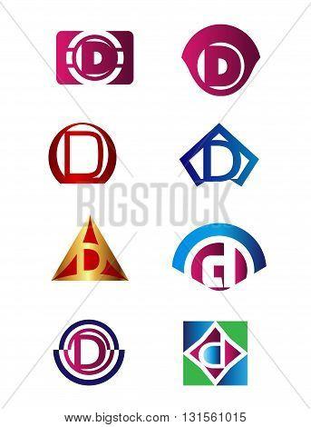 Set of letter D logo Branding Identity Corporate vector symbol design template