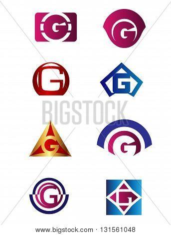 Set of letter G logo Branding Identity Corporate vector symbol design template