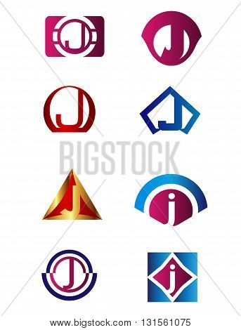 Set of letter J logo Branding Identity Corporate vector symbol design template