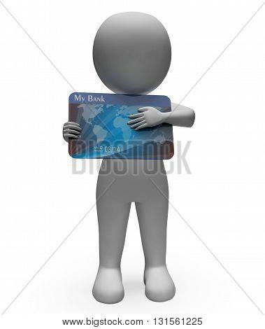 Debit Card Represents Cashless Buyer And Debt 3D Rendering