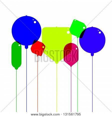Copnceptual illustration of colorful bizarre shaped balloon-like objects