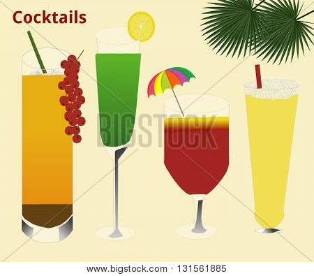 Four glasses with different kinds of alcoholic cocktail drinks. The cocktails are mostly decorated with fruits or a mini umbrella. Two have drinking straws. On the top on the right hand side are two palm leaves. On the right hand side at the top is writte