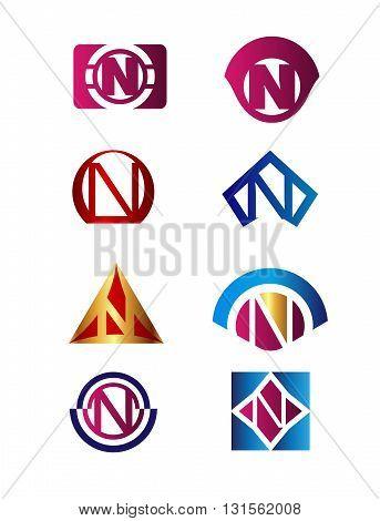 Set of letter N logo Branding Identity Corporate vector symbol design template